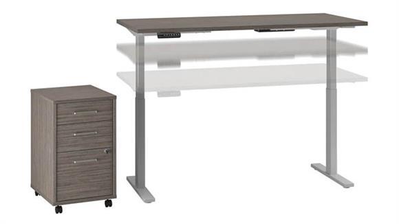 "Adjustable Height Desks & Tables Bush Furniture 60""W x 30""D Height Adjustable Standing Desk with Mobile File Cabinet"