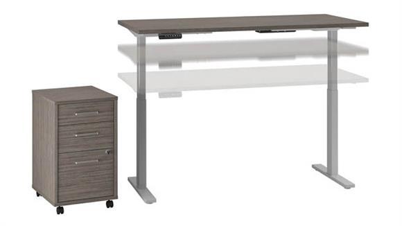 "Adjustable Height Desks & Tables Bush Furniture 72""W x 30""D Height Adjustable Standing Desk with Mobile File Cabinet"