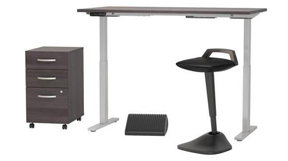 "Adjustable Height Desks & Tables Bush Furniture 60""W x 30""D Adjustable Standing Desk with Lean Stool, Storage and Ergonomic Accessories"