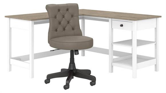 "L Shaped Desks Bush Furniture 60""W L-Shaped Computer Desk with Storage and Mid Back Tufted Office Chair"