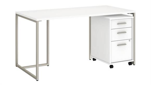 """Computer Desks Bush Furniture 60""""W Table Desk with 3 Drawer Mobile File Cabinet"""