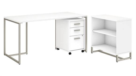 "Computer Desks Bush Furniture 60""W Table Desk with Bookcase and Mobile File Cabinet"