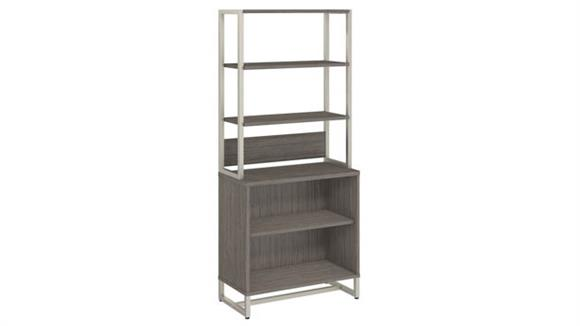 Bookcases Bush Furniture 2 Shelf Bookcase with Hutch