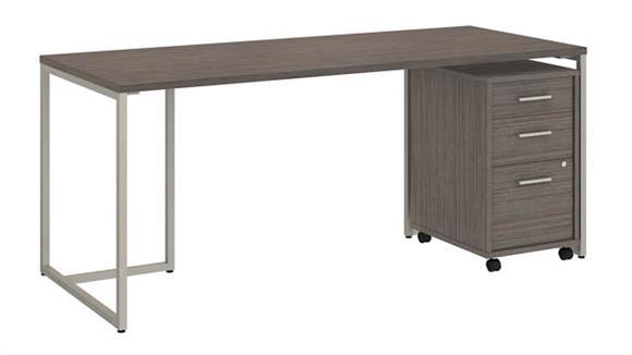 """Computer Desks Bush Furniture 72""""W Table Desk with 3 Drawer Mobile File Cabinet"""
