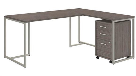 "L Shaped Desks Bush Furniture 72""W L Shaped Desk with 30""W Return and Mobile File Cabinet"