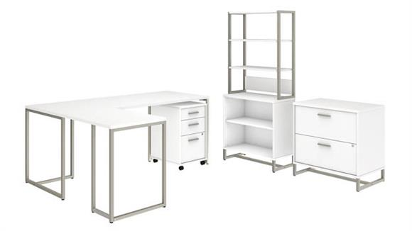 "L Shaped Desks Bush Furniture 72""W L Shaped Desk with 30""W Return, File Cabinets and Bookcase"
