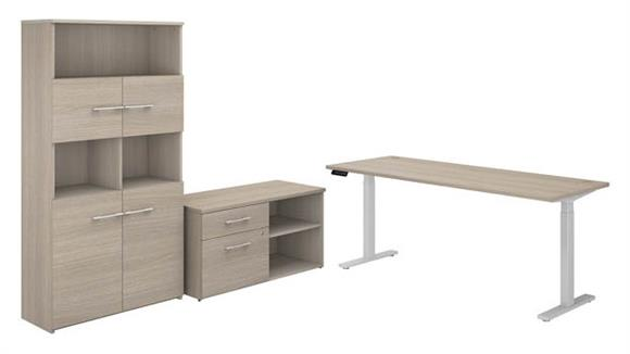 "Adjustable Height Desks & Tables Bush Furniture 72""W Height Adjustable Standing Desk with Storage File Drawer - Assembled, and Bookcase"