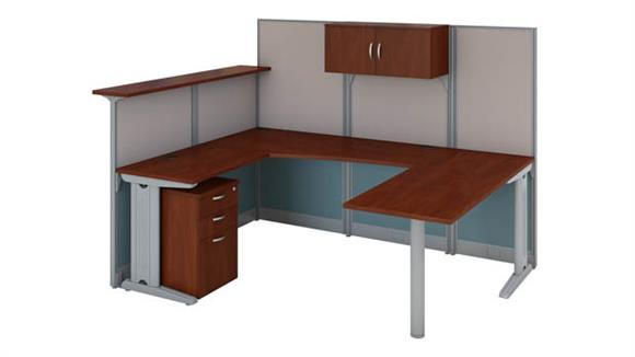 Reception Desks Bush Furniture U-Shaped Reception Desk with Storage