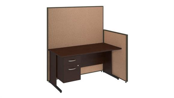 "Workstations & Cubicles Bush Furniture 60""W C-Leg Desk with 3/4 Pedestal and ProPanels"
