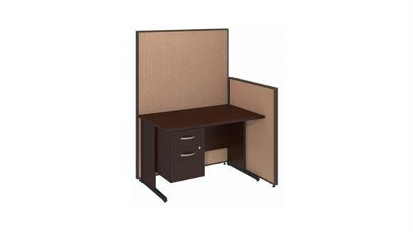 "Workstations & Cubicles Bush Furniture 48""W C-Leg Desk with 3/4 Pedestal and ProPanels"