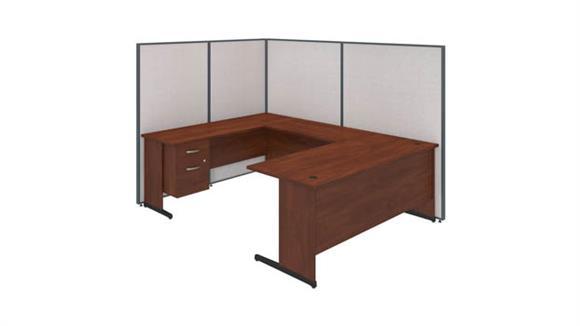 "Workstations & Cubicles Bush Furniture 72""W C-Leg U-Station with 3/4 Pedestal and ProPanels"