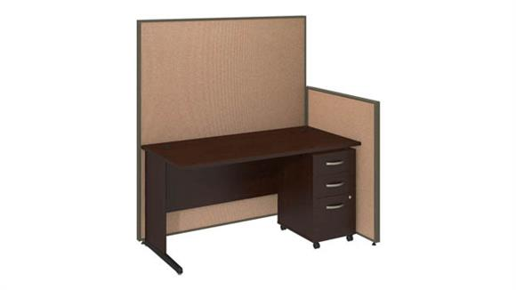 "Workstations & Cubicles Bush Furniture 60""W C-Leg Desk and 3 Drawer Mobile Pedestal with ProPanels"