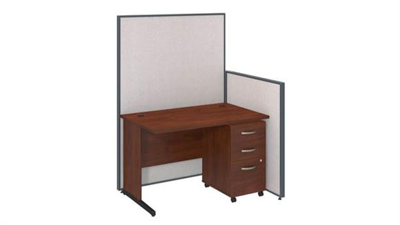 "Workstations & Cubicles Bush Furniture 48""W C-Leg Desk and 3 Drawer Mobile Pedestal with ProPanels"