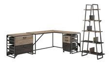 "L Shaped Desks Bush Furniture 62""W L Shaped Desk with 37""W Return, Bookshelf and File Cabinets"