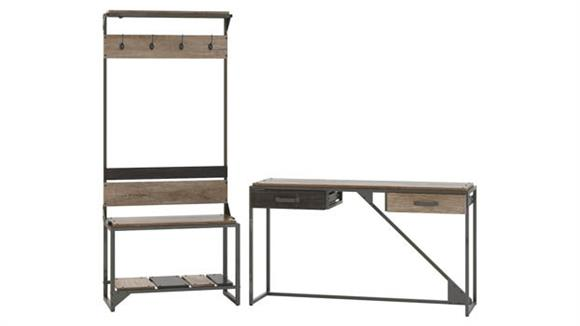 Storage Cabinets Bush Furniture Entryway Storage Set with Shoe Bench, Hall Tree and Console Table