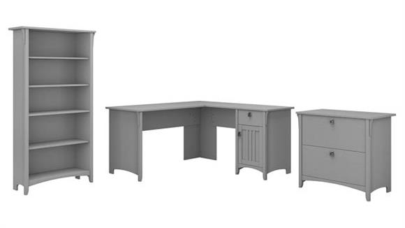 "L Shaped Desks Bush Furniture 60""W L Shaped Desk with Lateral File Cabinet and 5 Shelf Bookcase"