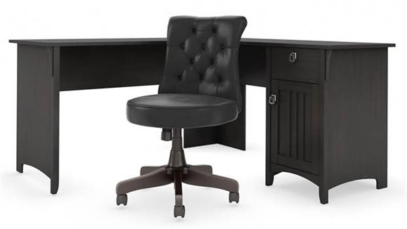 "L Shaped Desks Bush Furniture 60""W L Shaped Desk with Mid Back Tufted Office Chair"