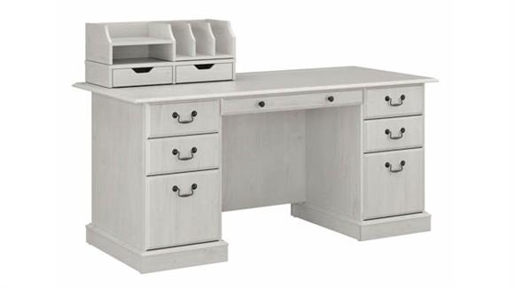 "Executive Desks Bush Furniture 66""W Executive Desk with Desktop Drawers and Organizers"