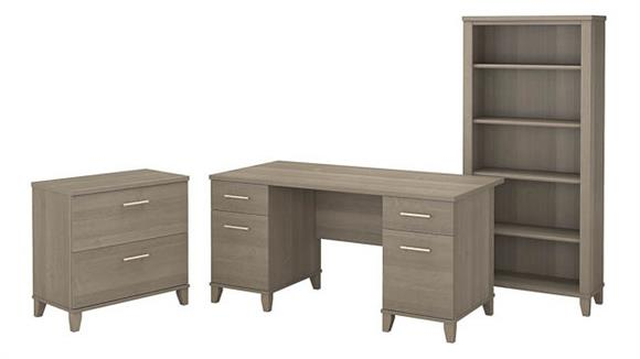 "L Shaped Desks Bush Furniture 60""W Office Desk with Lateral File Cabinet and 5 Shelf Bookcase"