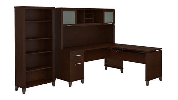 "Adjustable Height Desks & Tables Bush Furniture 72""W 3 Position Sit to Stand L Shaped Desk with Hutch and Bookcase"