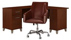 "L Shaped Desks Bush Furniture 60""W L Shaped Desk with Mid Back Leather Box Chair"