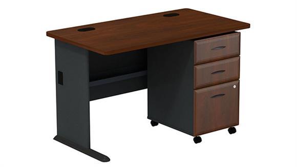 """Modular Desks Bush Furniture 48"""" Desk with 3 Drawer File"""