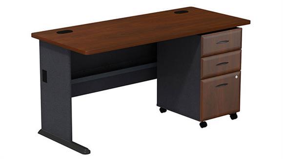 """Modular Desks Bush Furniture 60"""" Desk with 3 Drawer File"""