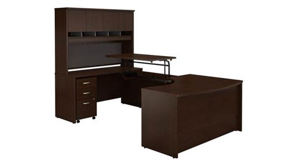 """Adjustable Height Desks & Tables Bush Furniture 60""""W x 43""""D Left Hand 3 Position Sit to Stand U Shaped Desk with Hutch and Mobile File Cabinet"""