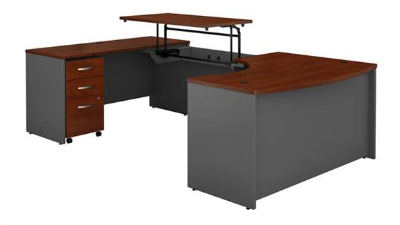"Adjustable Height Desks & Tables Bush Furniture 60""W x 43""D Left Hand 3 Position Sit to Stand U Shaped Desk with Mobile File Cabinet"