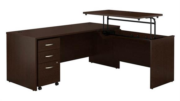 "Adjustable Height Desks & Tables Bush Furniture 72""W x 30""D 3 Position Sit to Stand L Shaped Desk with Mobile File Cabinet"