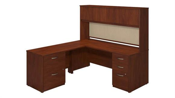 "L Shaped Desks Bush Furniture 72""W x 30""D Desk Shell with 48""W Return, Hutch and Storage"