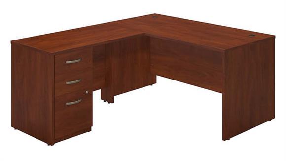 """L Shaped Desks Bush Furniture 60""""W x 30""""D L-Desk with 3 Drawer Pedestal"""
