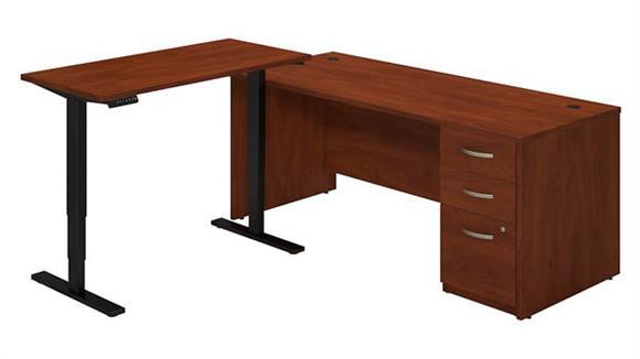 """L Shaped Desks Bush Furniture 72""""W L Desk with Height Adjustable Standing Return"""