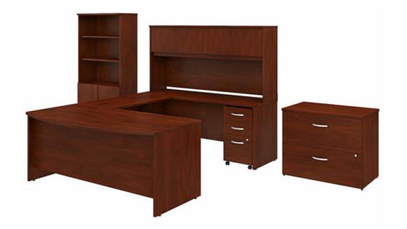 "U Shaped Desks Bush Furniture 72""W x 36""D U-Shaped Desk with Hutch, Bookcase and 2 Assembled File Cabinets"
