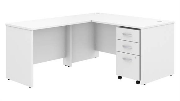 "Executive Desks Bush Furniture 60""W x 30""D L Shaped Desk with Mobile File Cabinet and 42""W Return"