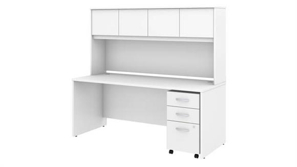 """Executive Desks Bush Furniture 72""""W x 30""""D Office Desk with Hutch and Assembled Mobile File Cabinet"""