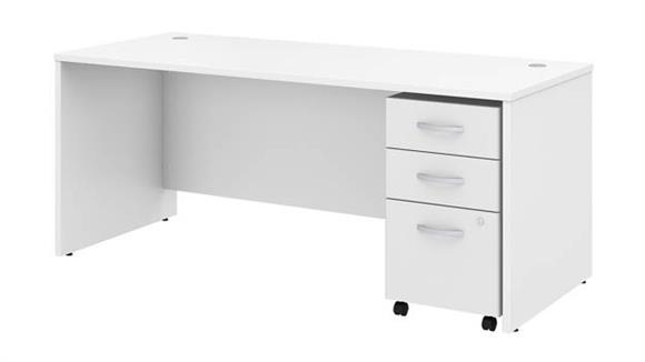 "Executive Desks Bush Furniture 72""W x 30""D Office Desk with Assembled Mobile File Cabinet"
