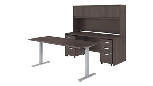 "Adjustable Height Desks & Tables Bush Furniture 72""W x 30""D Height Adjustable Standing Desk, Credenza with Hutch and Mobile File Cabinets"