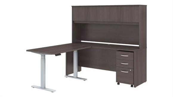 "Adjustable Height Desks & Tables Bush Furniture 72""W x 24""D L Shaped Desk with Hutch, 48""W Height Adjustable Return and Storage"