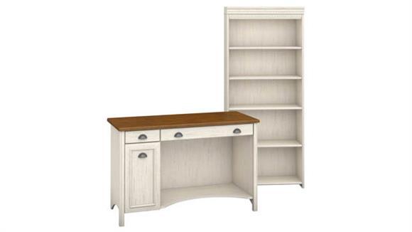 Computer Desks Bush Furniture Computer Desk and 5 Shelf Bookcase