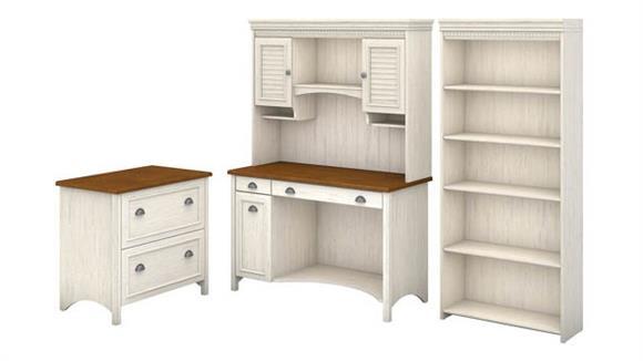 Computer Desks Bush Furniture Computer Desk with Hutch, Bookcase and Lateral File Cabinet