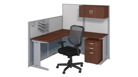 Workstations & Cubicles Bush Furniture L Workstation with Storage & Chair