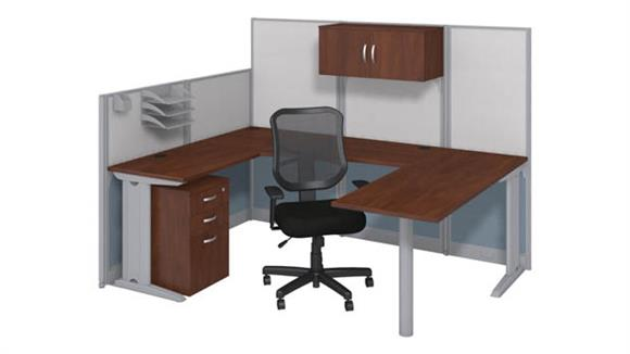 Workstations & Cubicles Bush Furniture U-Workstation with Storage and Chair