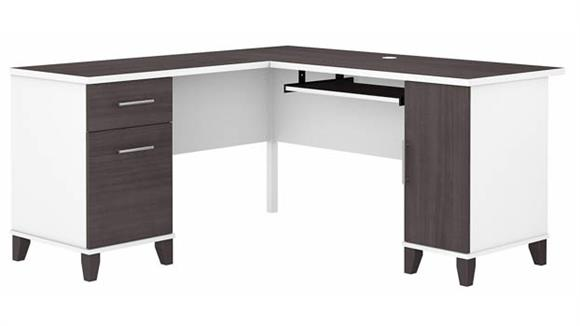 "L Shaped Desks Bush Furniture 60""W L-Shaped Desk with Storage"