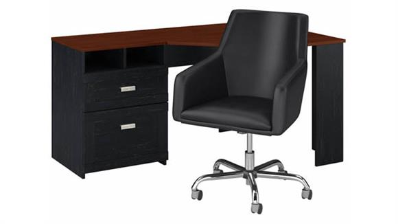 "Corner Desks Bush Furniture 60""W Reversible Corner Desk and Chair Set"