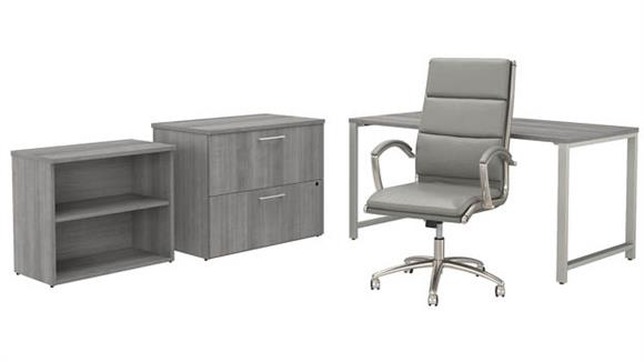 """Computer Desks Bush Furnishings 60""""W x 30""""D Table Desk and Chair Set with Lateral File Cabinet and Bookcase"""