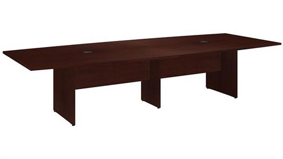 "Conference Tables Bush Furnishings 120""W x 48""D Boat Shaped Conference Table with Wood Base"