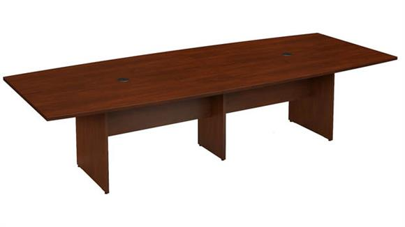 "Conference Tables Bush Furnishings 120""W x 48""D Boat Shaped Conference Table"