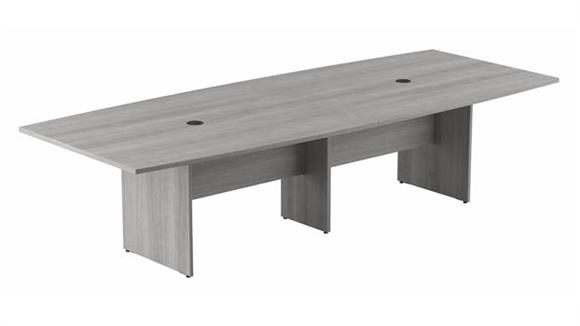 """Conference Tables Bush Furnishings 120""""W x 48""""D Boat Shaped Conference Table with Wood Base"""