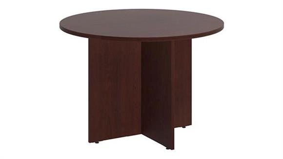 """Conference Tables Bush Furnishings 42""""W Round Conference Table with Wood Base"""